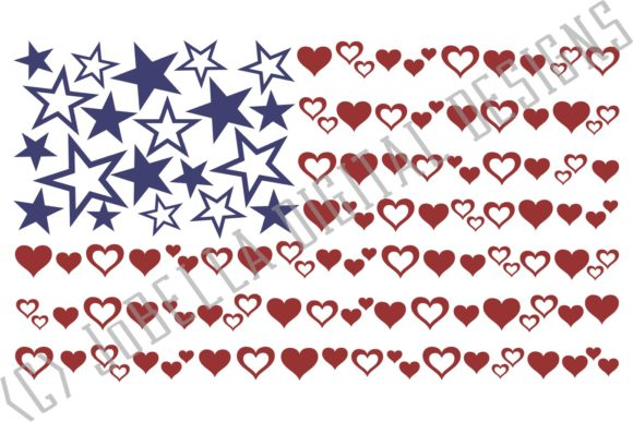 Download Free Hearts And Stars American Flag Graphic By Jobella Digital for Cricut Explore, Silhouette and other cutting machines.