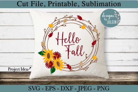 Download Free Hello Fall Wreath Graphic By Designs By Jolein Creative Fabrica for Cricut Explore, Silhouette and other cutting machines.