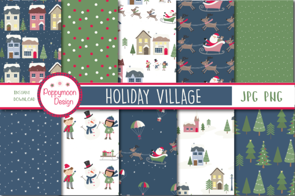 Print on Demand: Holiday Village Paper Graphic Patterns By poppymoondesign