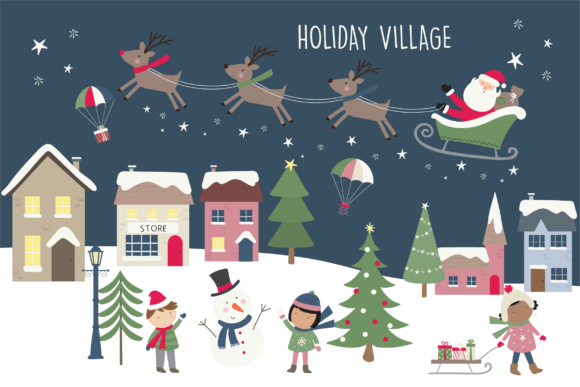 Print on Demand: Holiday Village Graphic Illustrations By poppymoondesign
