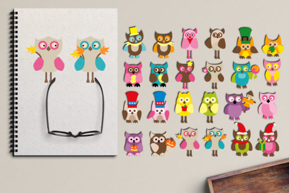 Print on Demand: Holidays Owls Graphic Illustrations By Revidevi - Image 1
