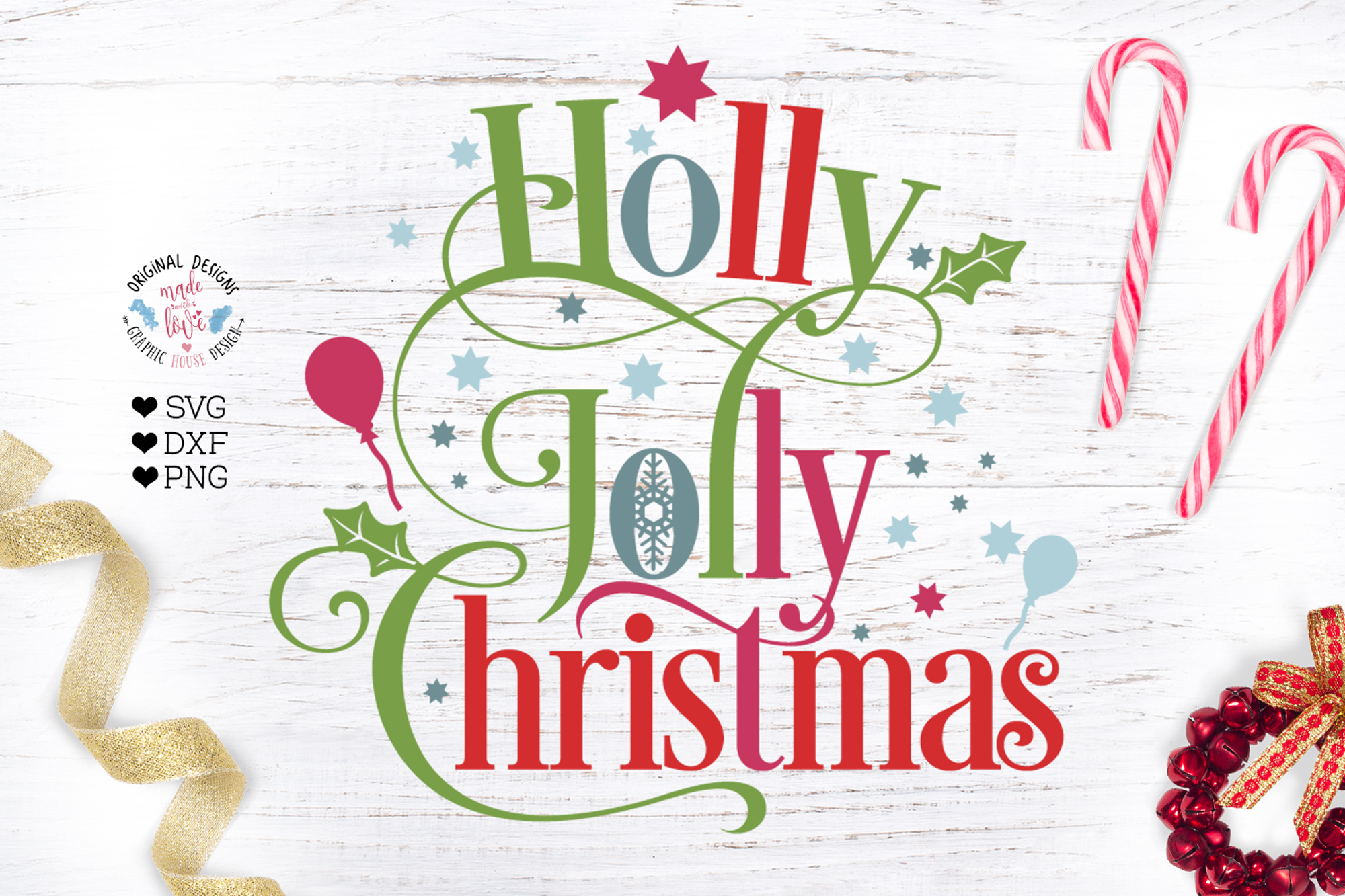 Holly Jolly Christmas Cut File Graphic By Graphichousedesign