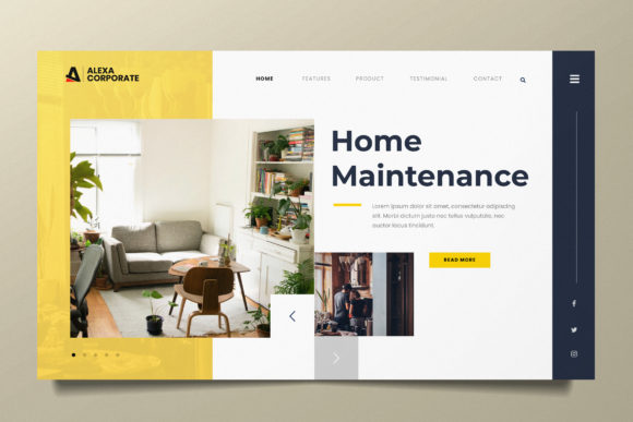 Home Interior Web Header PSD and AI Graphic Landing Page Templates By alexacrib83
