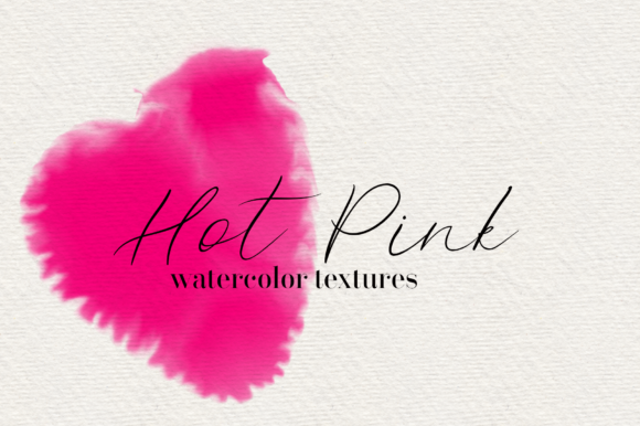 Print on Demand: Hot Pink 45 Watercolor Textures Graphic Textures By lovalu