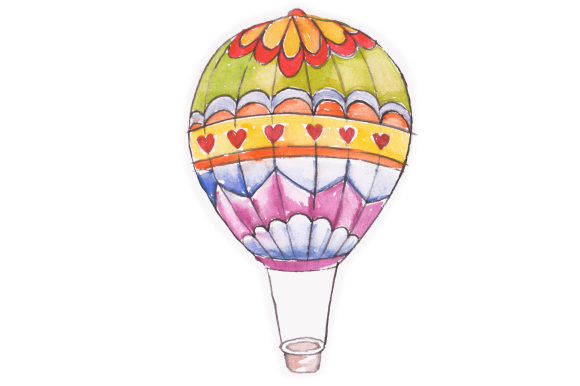 Download Free Hot Air Balloon In Watercolor Svg Cut File By Creative Fabrica for Cricut Explore, Silhouette and other cutting machines.