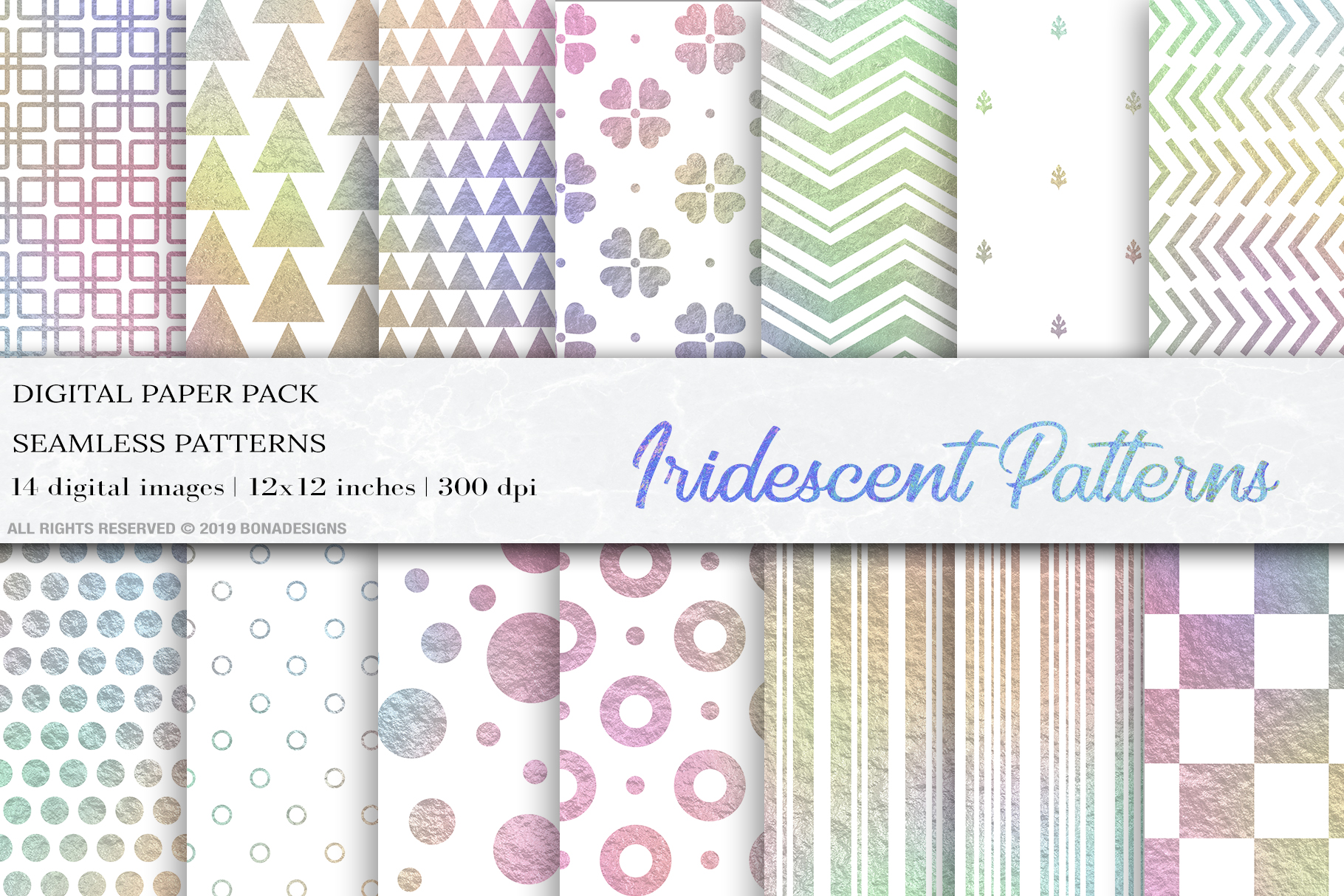 Download Free Iridescent Rainbow Seamless Patterns Graphic By Bonadesigns for Cricut Explore, Silhouette and other cutting machines.