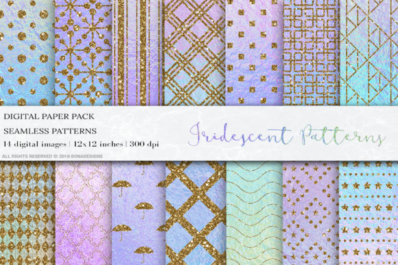 Iridescent Seamless Patterns Graphic Patterns By BonaDesigns
