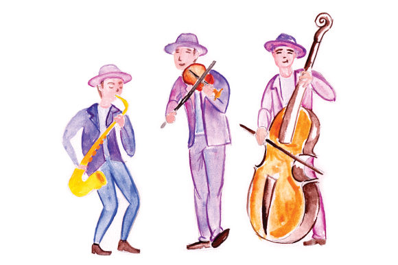 Jazz Band in Watercolor Music Craft Cut File By Creative Fabrica Crafts