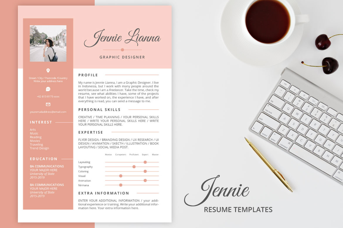 Download Free Jennie Resume Templates Graphic By Namsore Creative Fabrica for Cricut Explore, Silhouette and other cutting machines.