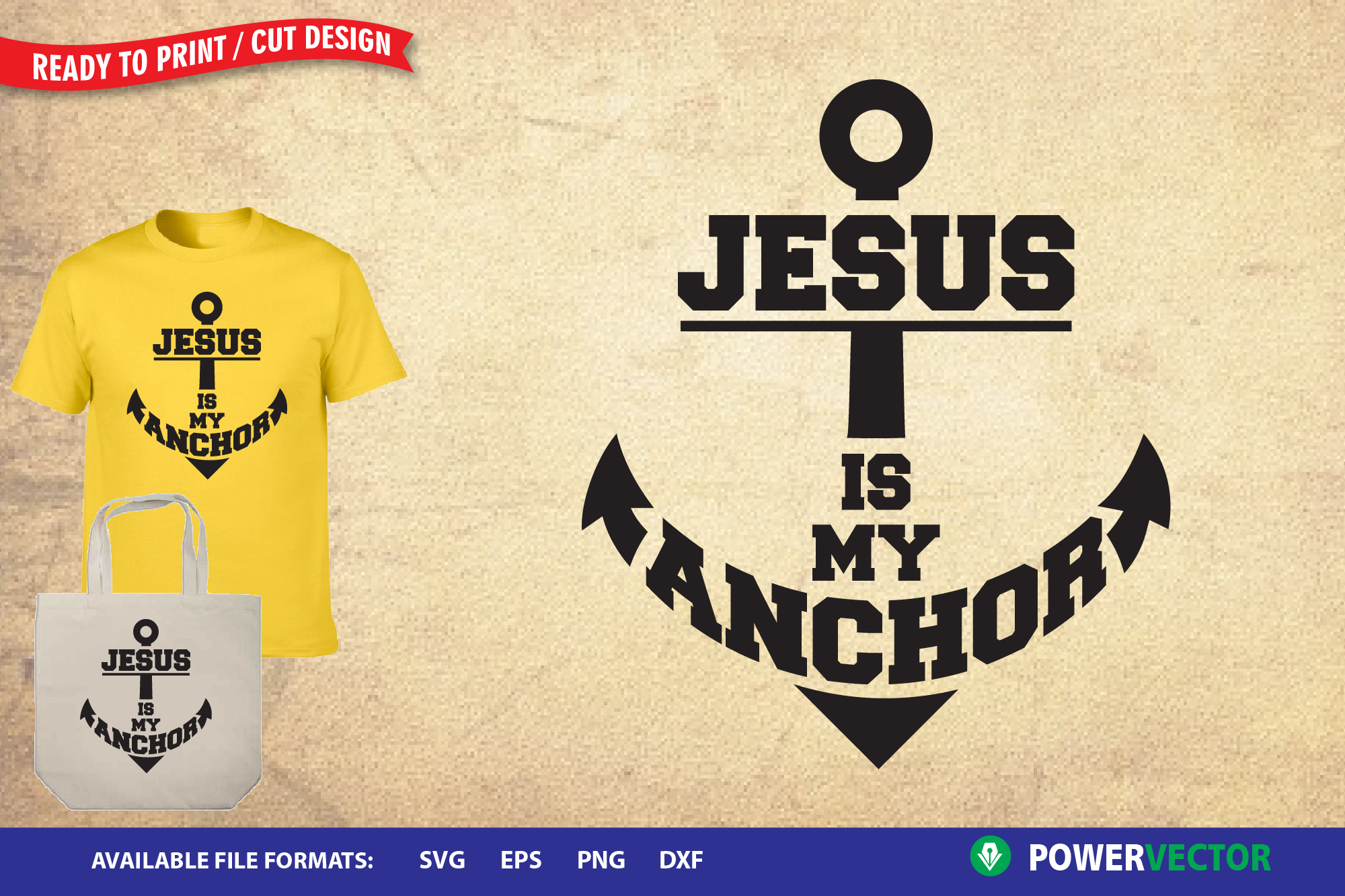 Download Free Jesus Is My Anchor Graphic By Powervector Creative Fabrica for Cricut Explore, Silhouette and other cutting machines.