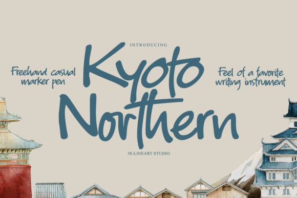 Print on Demand: Kyoto Northern Display Font By 38.lineart
