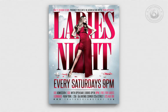Ladies Night Flyer Poster Template V2 Graphic Print Templates By ThatsDesignStore