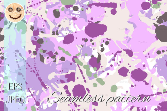 Print on Demand: Lilac Beige Green Ink Paint Pattern Graphic Patterns By TasiPas - Image 1