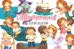Little Mermaid Clip Art Collection Graphic By Keepinitkawaiidesign