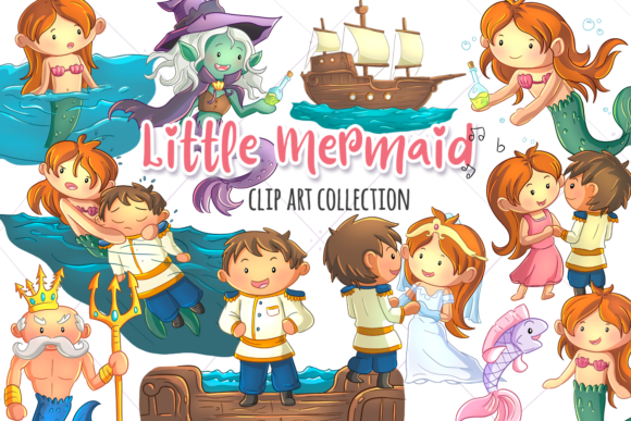 Print on Demand: Little Mermaid Clip Art Collection Graphic Illustrations By Keepinitkawaiidesign