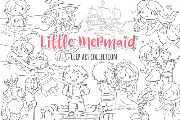 Print on Demand: Little Mermaid Digital Stamps Graphic Illustrations By Keepinitkawaiidesign - Image 1