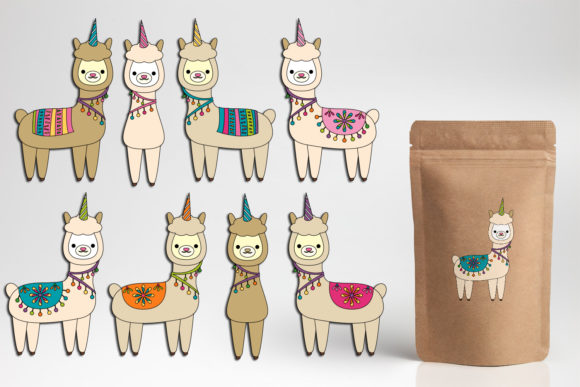 Print on Demand: Llama Unicorn Bundle Graphic Illustrations By DarraKadisha - Image 11