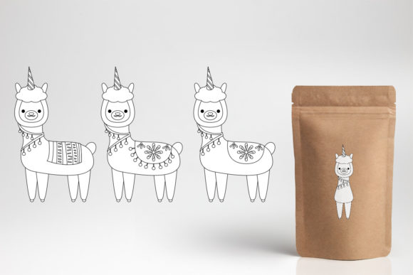 Print on Demand: Llama Unicorn Bundle Graphic Illustrations By DarraKadisha - Image 12