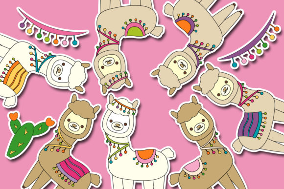 Print on Demand: Llama Unicorn Bundle Graphic Illustrations By DarraKadisha - Image 3