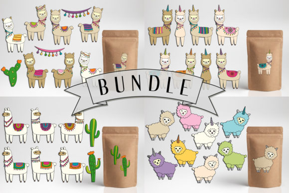Print on Demand: Llama Unicorn Bundle Graphic Illustrations By DarraKadisha - Image 1