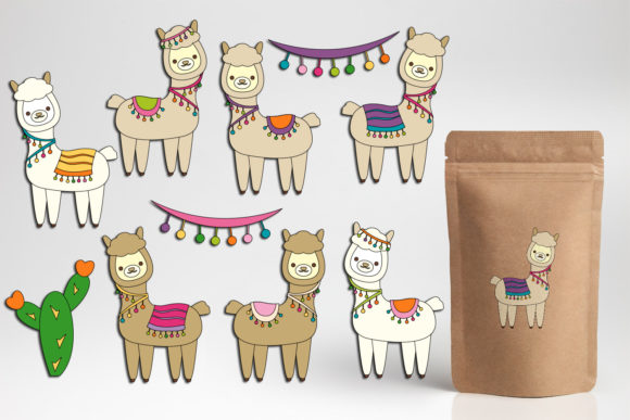 Print on Demand: Llama Unicorn Bundle Graphic Illustrations By DarraKadisha - Image 9