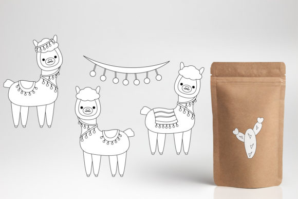 Print on Demand: Llama Unicorn Bundle Graphic Illustrations By DarraKadisha - Image 10