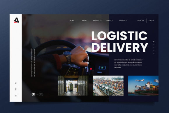 Logistic Delivery Web Header PSD and AI Graphic Landing Page Templates By alexacrib83