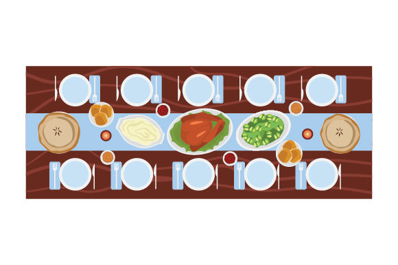 Long Table with Feast Thanksgiving Craft Cut File By Creative Fabrica Crafts