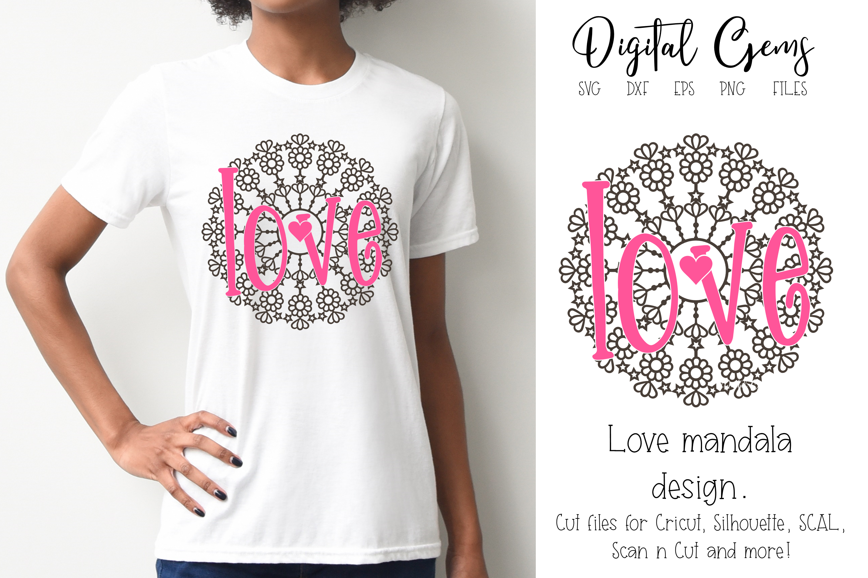 Download Free Love Mandala Design Graphic By Digital Gems Creative Fabrica for Cricut Explore, Silhouette and other cutting machines.
