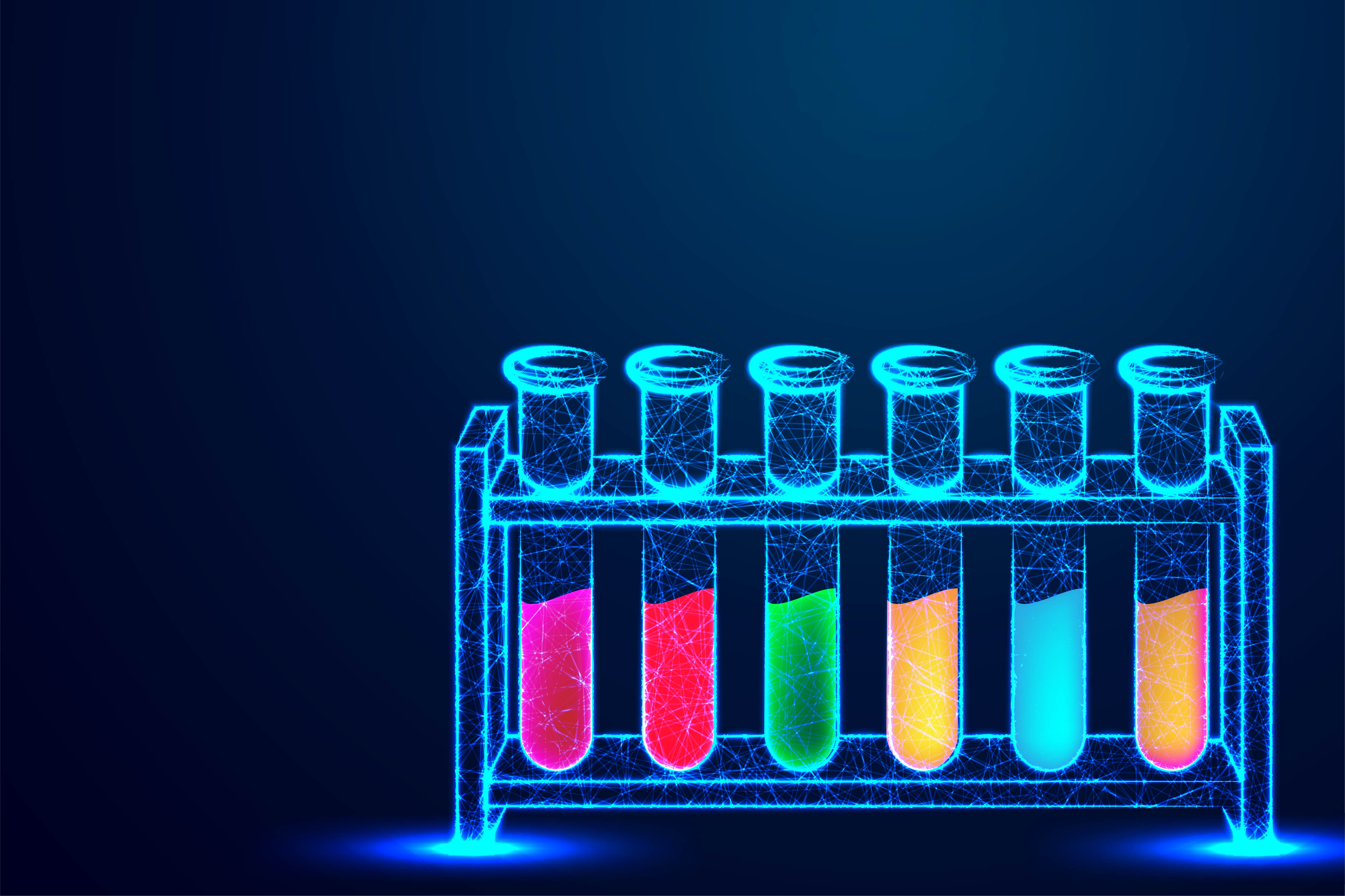 Low Poly Wireframe Laboratory Test Tube Rack Graphic By