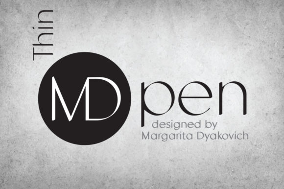 Print on Demand: MD Pen Thin Sans Serif Font By Margarita Dyakovich