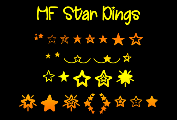 Print on Demand: MF Star Dings Dingbats Font By Misti