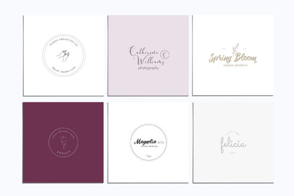 Print on Demand: Magnolia Pre-made Logo Set of 24 Logos Graphic Logos By Primafox Design - Image 5