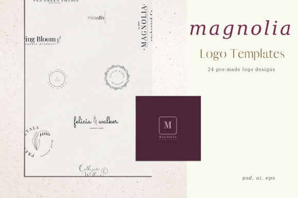 Print on Demand: Magnolia Pre-made Logo Set of 24 Logos Graphic Logos By Primafox Design - Image 1