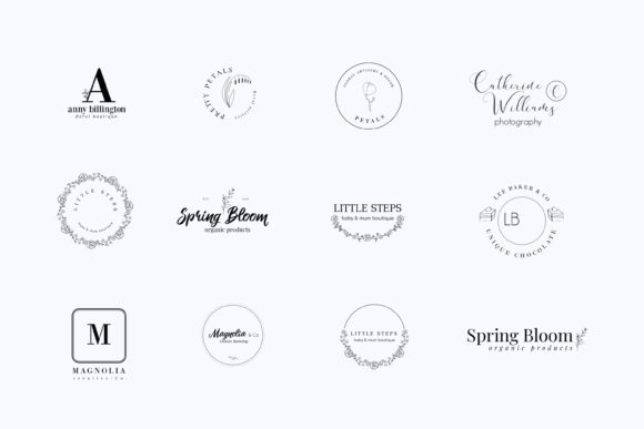 Print on Demand: Magnolia Pre-made Logo Set of 24 Logos Graphic Logos By Primafox Design - Image 7