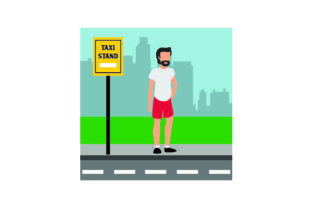 Man Waiting at Taxi Stand Craft Design By Creative Fabrica Crafts