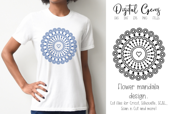 Download Free Mandala Graphic By Digital Gems Creative Fabrica for Cricut Explore, Silhouette and other cutting machines.