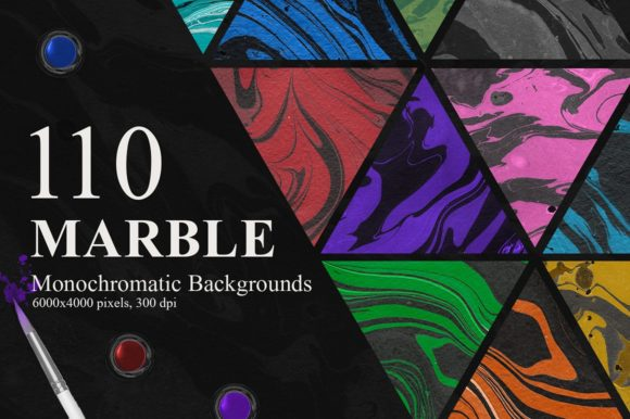 Marble Ink Monochromatic Backgrounds Gráfico Por NassyArt