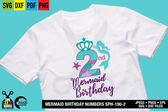 Download Free Mermaid 2nd Birthday Graphic By Ambillustrations Creative Fabrica for Cricut Explore, Silhouette and other cutting machines.