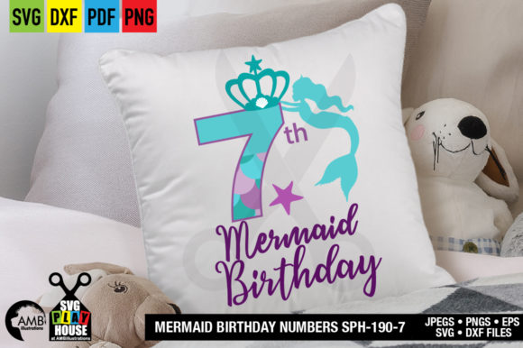 Download Free Mermaid Birthday 7 Years Old Graphic By Ambillustrations for Cricut Explore, Silhouette and other cutting machines.