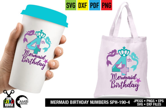Mermaid Birthday Numbers Graphic Crafts By AMBillustrations