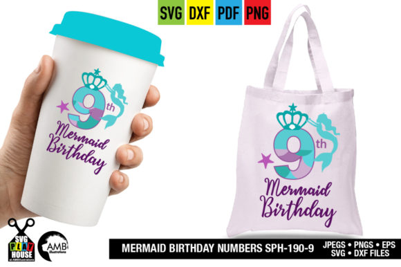 Download Free Mermaid Birthday Numbers Graphic By Ambillustrations Creative for Cricut Explore, Silhouette and other cutting machines.