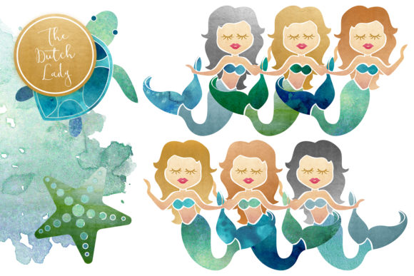 Print on Demand: Mermaid & Ocean Life Clipart Set Graphic Illustrations By daphnepopuliers - Image 3