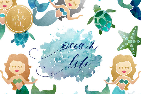 Print on Demand: Mermaid & Ocean Life Clipart Set Graphic Illustrations By daphnepopuliers - Image 1