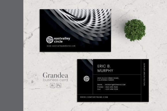 Minimalist Business Card AI and PSD 3 Graphic Print Templates By alexacrib83