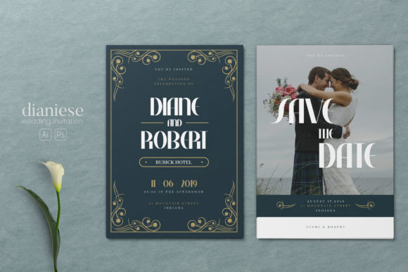 Minimalist Wedding AI and PSD Invitation Graphic Print Templates By alexacrib83