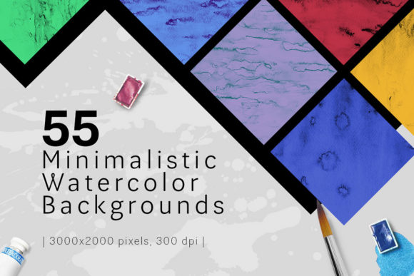 Print on Demand: Minimalistic Watercolor Backgrounds Graphic Backgrounds By freezerondigital
