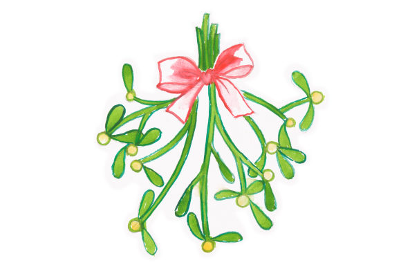 Mistletoe Sprig in Watercolor Christmas Craft Cut File By Creative Fabrica Crafts