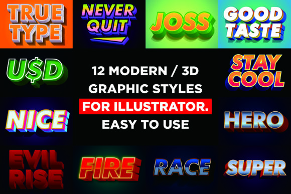 Modern Font Effect for Illustrator Graphic Layer Styles By memetxsaputra