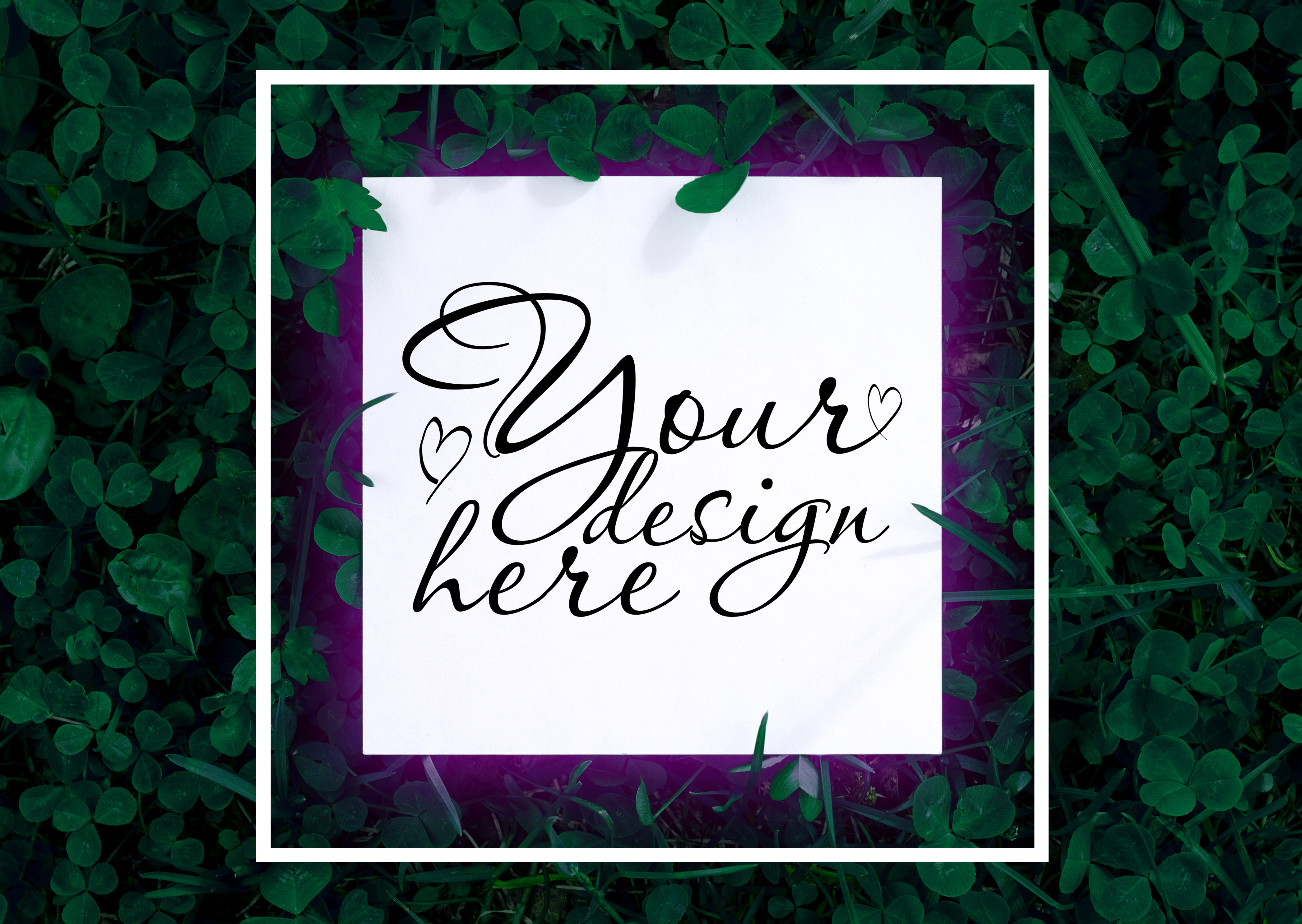 Download Free Modern Square Card Mockup On Dark Green Graphic By Natalia for Cricut Explore, Silhouette and other cutting machines.